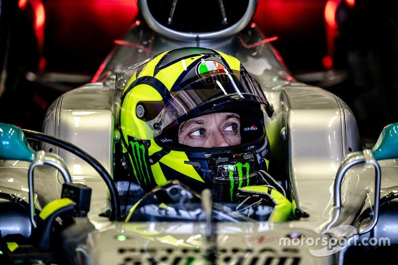 "Valentino Rossi, Mercedes-AMG F1 W08<span class=""copyright"">Monster Energy</span>"