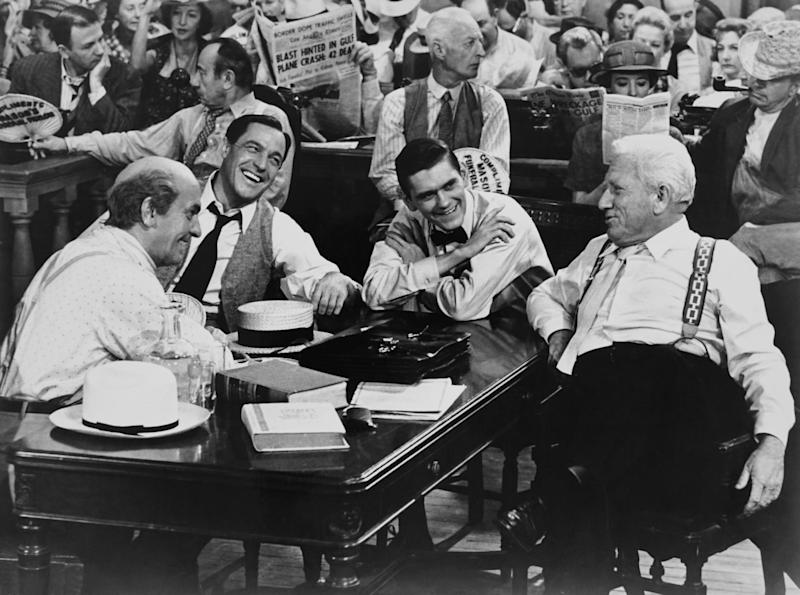 March, Gene Kelly, Dick York and Tracy on the set of 'Inherit the Wind' (Photo: Everett Collection)