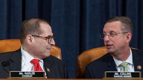 PHOTO: Rep. Jerry Nadler, D-N.Y., and chairman of the House Judiciary Committee, left, speaks with Rep. Doug Collins, R-Ga., and ranking member of the House Judiciary Committee, during a House Judiciary Committee hearing in Washington, Dec. 12, 2019. (Alex Edelman/Pool via Reuters)