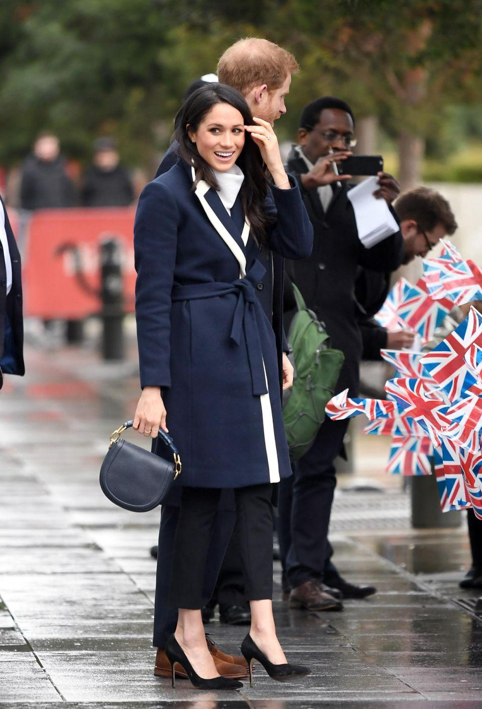 Meghan Markle's gorgeous navy and white coat from J. Crew has already sold out. Photo: Getty Images