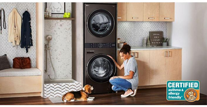 """<p>In theory, stackable washers and dryers exist naturally to maximize space, but often that can decrease access. How tall do you need to be to get to the top control panel—and can your kids really participate in the art of helping with laundry? That's where the <a href=""""https://www.lg.com/us/washer-dryer-combos/lg-wkex200hba-washtower"""" rel=""""nofollow noopener"""" target=""""_blank"""" data-ylk=""""slk:LG Washtower"""" class=""""link rapid-noclick-resp"""">LG Washtower</a> comes in. One of their latest innovations, this single tower has a washer and dryer built-in with the controller for both right in the center—no step stool required. What's the """"smart"""" part? Sensors inside both drums automatically detect the fabric texture and size, and select the right setting for your load. And with """"Smart Pairing"""", the washer will just tell the dryer what the right drying cycle is to complete your laundry--now if only it could move the wash to the dryer. Maybe next year. What's even better is that despite it's space saving capabilities, you can still dry a king-size comforter. To really deck out your <a href=""""https://www.housebeautiful.com/room-decorating/a29563491/this-nashville-home-has-laundry-room-inspo-for-days/"""" rel=""""nofollow noopener"""" target=""""_blank"""" data-ylk=""""slk:laundry room"""" class=""""link rapid-noclick-resp"""">laundry room</a> (since you do have so much more room now) add in the <a href=""""https://www.lg.com/us/styler-steam-closet"""" rel=""""nofollow noopener"""" target=""""_blank"""" data-ylk=""""slk:LG Styler"""" class=""""link rapid-noclick-resp"""">LG Styler</a> for perfectly steamed and sanitized clothes in just minutes. </p>"""