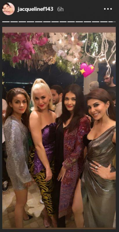 After setting Mumbai stage on fire at the first ever OnePlus Music Festival, the global icon spent some quality time with our desi celebs. While our news-fed was flooded with pictures from K.Jo's party thrown in honor of the<em> Dark Horse </em>singer, this snap shared by Jacqueline is our favorite moment from the evening.