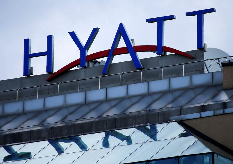 FILE PHOTO: Company's logo is seen on Ararat Park Hyatt Moscow hotel in central Moscow