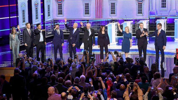 PHOTO: 2020 democratic presidential candidates participate in the second night of the first 2020 democratic presidential debate at the Adrienne Arsht Center for the Performing Arts in Miami, June 27, 2019. (Saul Loeb/AFP/Getty Images)