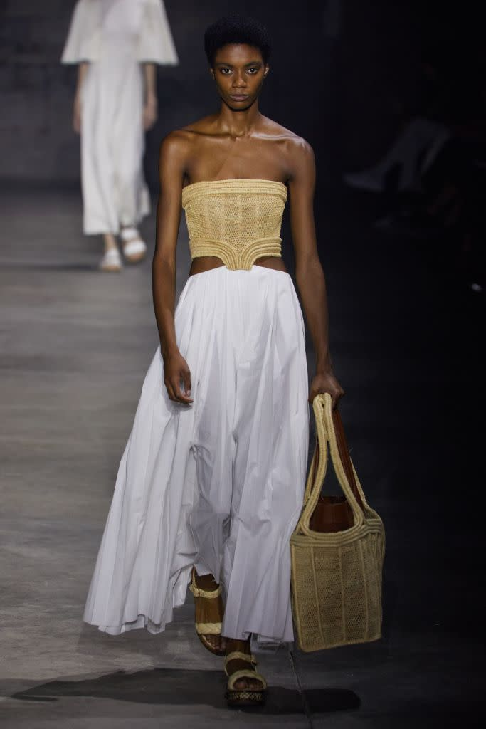 A raffia and cotton look with raffia and cork sandals in collaboration with Clergerie, at Gabriela Hearst. The designer was one of only few at NYFW continuing a top-to-bottom approach on sustainable fashion. - Credit: Courtesy of Gabriela Hearst