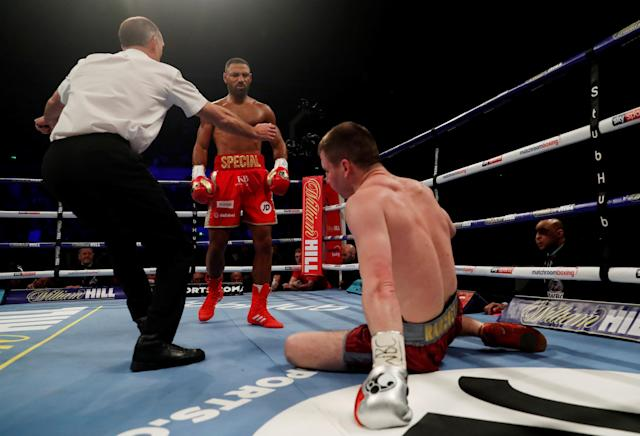 Boxing - Kell Brook vs Sergey Rabchenko - Sheffield, Britain - March 3, 2018 Kell Brook knocks down Sergey Rabchenko Action Images via Reuters/Andrew Couldridge