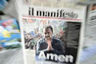 A newspaper printed with the front page image of Italian Deputy Prime Minister and League party leader Matteo Salvini is displayed at a newsstand, following the European Parliamentary election results in the rise of the far-right League party in Milan, Italy May 27, 2019. REUTERS/Guglielmo Mangiapane