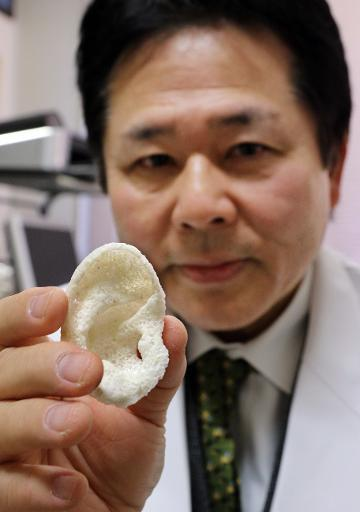 """<p>This <a href=""""http://phys.org/news/2015-01-japan-3d-printed-body.html"""" rel=""""nofollow noopener"""" target=""""_blank"""" data-ylk=""""slk:3D-printed ear"""" class=""""link rapid-noclick-resp"""">3D-printed ear</a>, developed in Japan this year, is made of material over which skin can grow. <i>(Photo: AFP)</i></p>"""