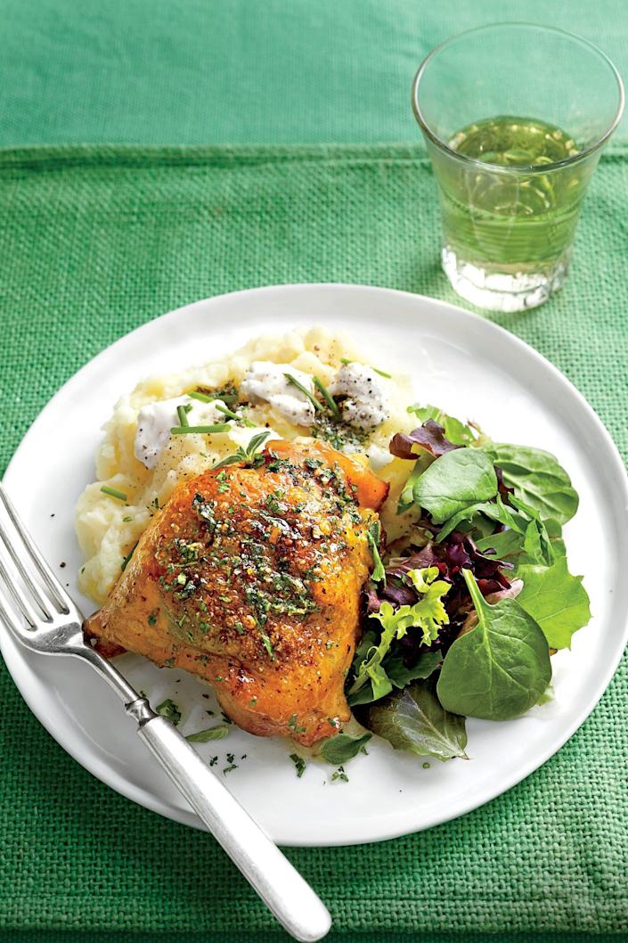 """<p><strong>Recipe: <a href=""""https://www.southernliving.com/recipes/roasted-chicken-thighs"""" rel=""""nofollow noopener"""" target=""""_blank"""" data-ylk=""""slk:Roasted Chicken Thighs with Herb Butter"""" class=""""link rapid-noclick-resp"""">Roasted Chicken Thighs with Herb Butter</a></strong></p> <p>Serve this herby chicken with our <a href=""""https://www.southernliving.com/recipes/goat-cheese-mashed-potatoes-recipe"""" rel=""""nofollow noopener"""" target=""""_blank"""" data-ylk=""""slk:Goat Cheese Mashed Potatoes"""" class=""""link rapid-noclick-resp"""">Goat Cheese Mashed Potatoes</a> and a simple green salad for a filling supper. This roasted chicken makes a great protein base for a week of lunch prep, too.</p>"""
