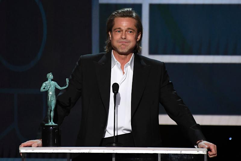 Brad Pitt accepts the award for Outstanding Performance by a Male Actor in a Supporting Role in a Motion Picture at the 26th Annual Screen Actors Guild Awards in Los Angeles on Sunday. (Photo: ROBYN BECK/AFP via Getty Images)