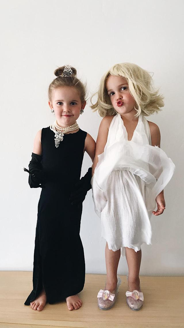 Let's play dress-up! Emma and Mila as Audrey Hepburn and Marilyn Monroe. (Photo courtesy of Katie Stauffer)