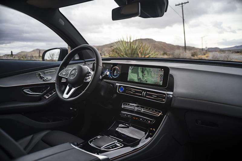 Unlike Tesla's tablet-like control console, the Mercedes-Benz EQC 400 has a more traditional interior.