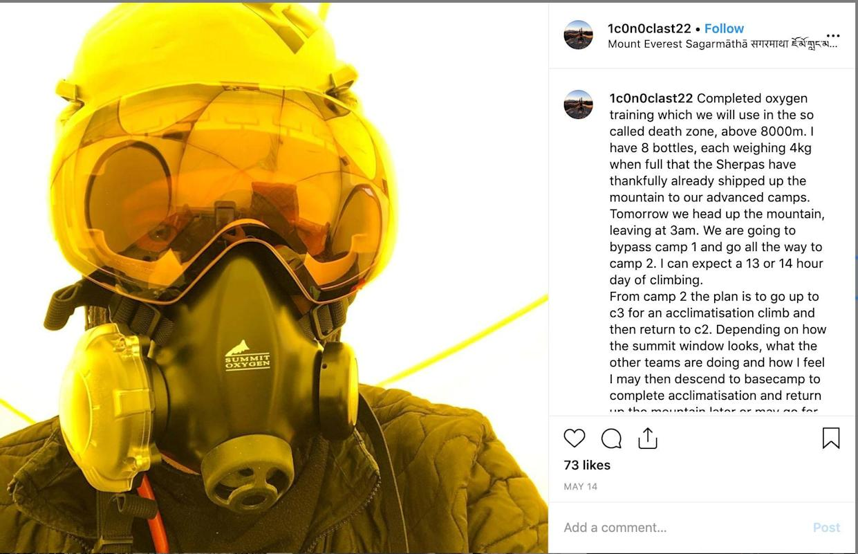 Mr Fisher had also posted about completing oxygen training for use in the so-called 'death zone' (Picture: Instagram/Robin Haynes Fisher)