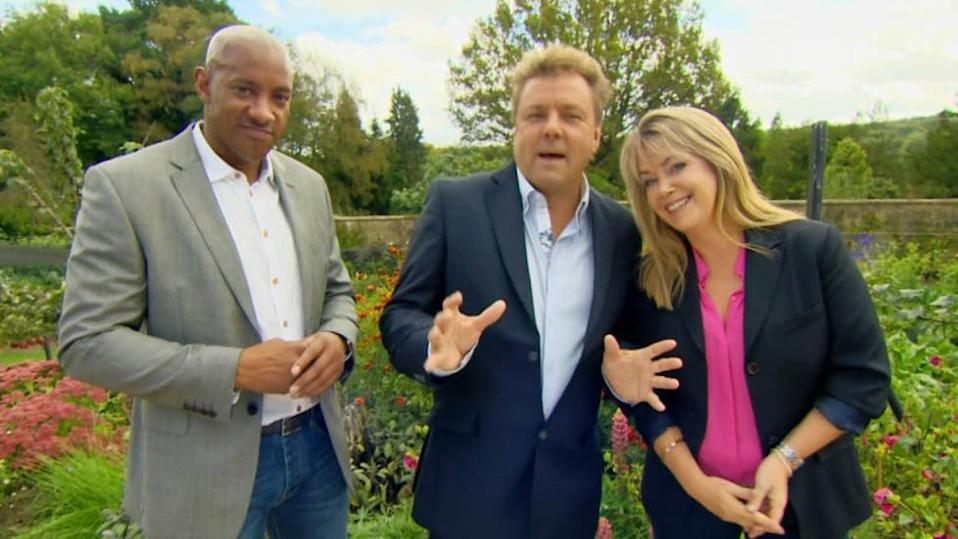 Dion Dublin, Martin Roberts and Lucy Alexander on BBC property show 'Homes Under the Hammer'. (Credit: BBC)