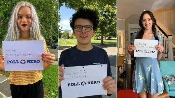 Poll Hero volunteers Anaya Tennant, Leo Kamin and Lucy Duckworth aren't old enough to vote, but they can help scout potential poll workers on social media. (Photo: Poll Hero)