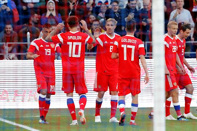 Soccer Football - International Friendly - Russia vs Turkey - VEB Arena, Moscow, Russia - June 5, 2018 Russia's Aleksandr Samedov celebrates scoring their first goal with teammates REUTERS/Sergei Karpukhin