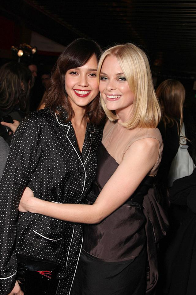"""<a href=""""http://movies.yahoo.com/movie/contributor/1800019057"""">Jessica Alba</a> and <a href=""""http://movies.yahoo.com/movie/contributor/1800157425"""">Jaime King</a> at the Los Angeles premiere of <a href=""""http://movies.yahoo.com/movie/1810027306/info"""">My Bloody Valentine 3-D</a> - 01/08/2009"""