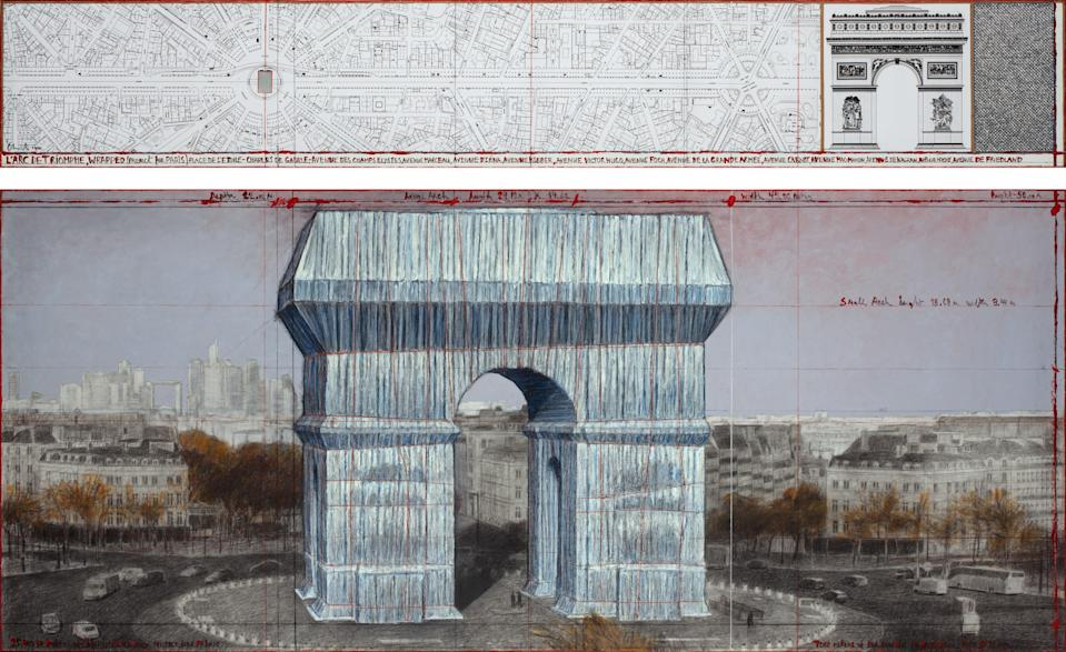 Christo and Jeanne-Claude, L'Arc de Triomphe, Wrapped (Project for Paris) Place de l'Etoile – Charles de Gaulle, Drawing 2020 in two parts, pencil, charcoal, pastel, wax crayon, enamel paint, architectural drawing, map, and fabric sample, 38 x 244 cm and 106.6 x 244 cm (15 x 96 in and 42 x 96 in).