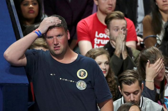 <p>Supporters of U.S. Democratic presidential nominee Hillary Clinton react at her election night rally in Manhattan, New York, Nov. 8, 2016. (Photo: Lucy Nicholson/Reuters) </p>