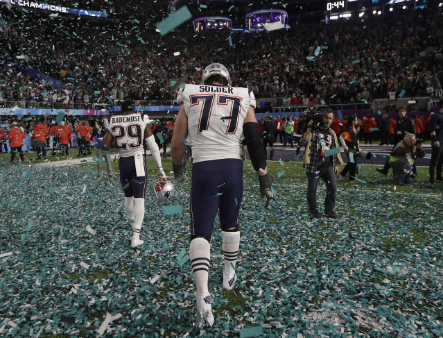 Even after their loss to the Eagles, the Patriots are still favored to win the Super Bowl in 2019. (AP)