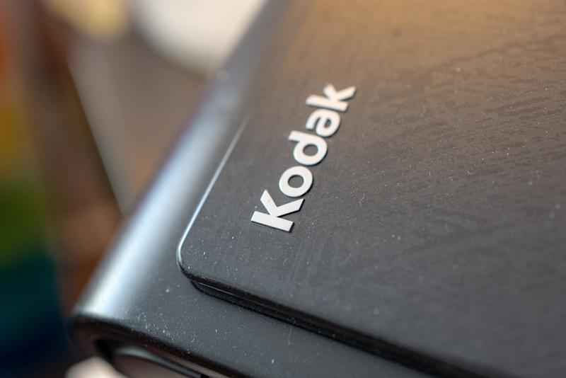 Close-up of logo for Kodak on scanning equipment, San Ramon, California, June 22, 2020. (Photo by Smith Collection/Gado/.)