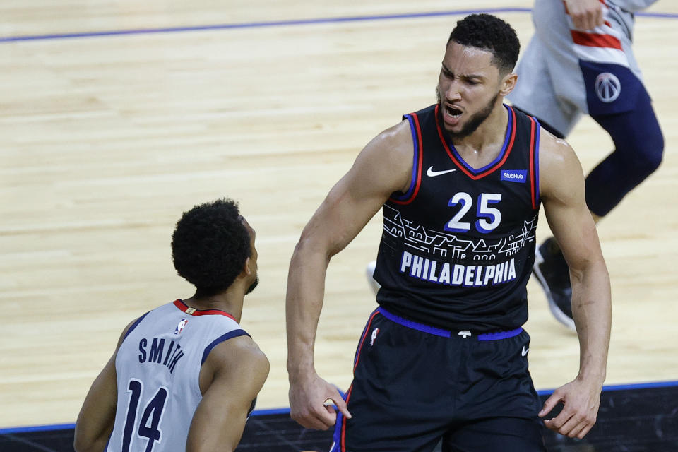 PHILADELPHIA, PENNSYLVANIA - MAY 26: Ben Simmons #25 of the Philadelphia 76ers celebrates a dunk during the first quarter against the Washington Wizards during Game Two of the Eastern Conference first round series at Wells Fargo Center on May 26, 2021 in Philadelphia, Pennsylvania. NOTE TO USER: User expressly acknowledges and agrees that, by downloading and or using this photograph, User is consenting to the terms and conditions of the Getty Images License Agreement.  (Photo by Tim Nwachukwu/Getty Images)