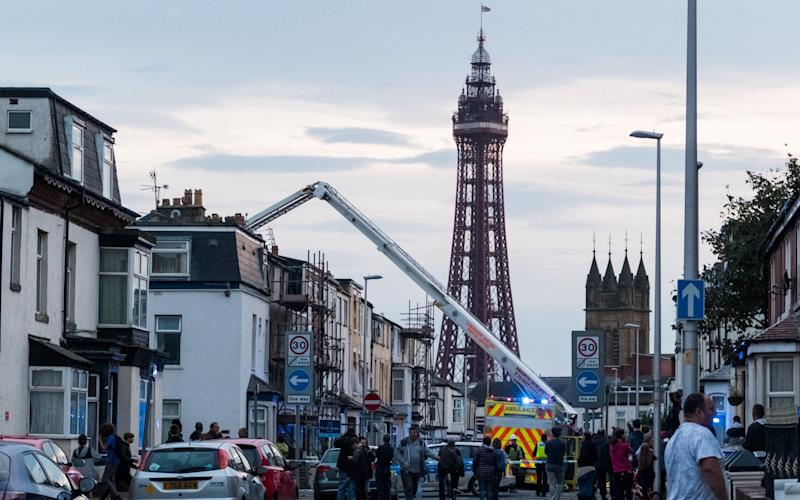 Emergency services at the scene of a gas explosion at an address in Charles Street, Blackpool. - Martin Bostock Photography