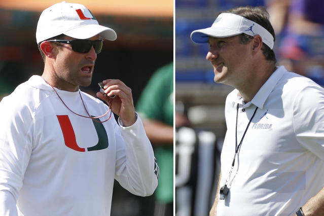 FILE - At left, in an Aug. 6, 2019, file photo, Miami head football coach Manny Diaz prepares to blow his whistle during an NCAA college football practice at the University of Miami in Coral Gables, Fla. At right, in an Oct. 6, 2018, file photo, Florida head coach Dan Mullen watches players warm up before an NCAA college football game against LSU in Gainesville, Fla. Florida and Miami have the college football stage to themselves for 3 hours Saturday, a new chapter in their once-heated and forever-storied rivalry.(AP Photo/File)