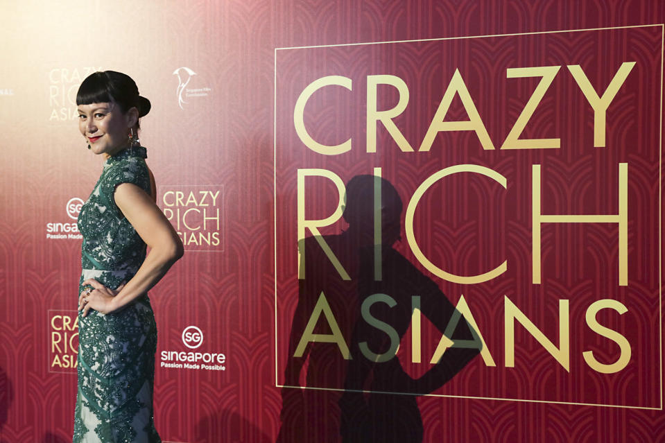 <p>Singaporean actress Janice Koh poses for photographers at the Singapore premiere of 'Crazy Rich Asians' on 21 August 2018. (PHOTO: Yahoo Lifestyle Singapore) </p>