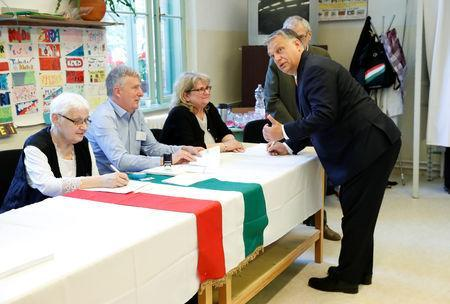 Hungarian Prime Minister Viktor Orban arrives at a polling station to cast his ballot during the European Parliament Elections in Budapest, Hungary, May 26, 2019. REUTERS/Bernadett Szabo