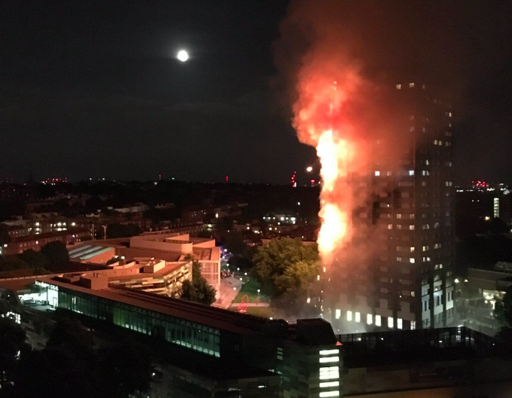 Flames devastated the tower block in west London (PA)