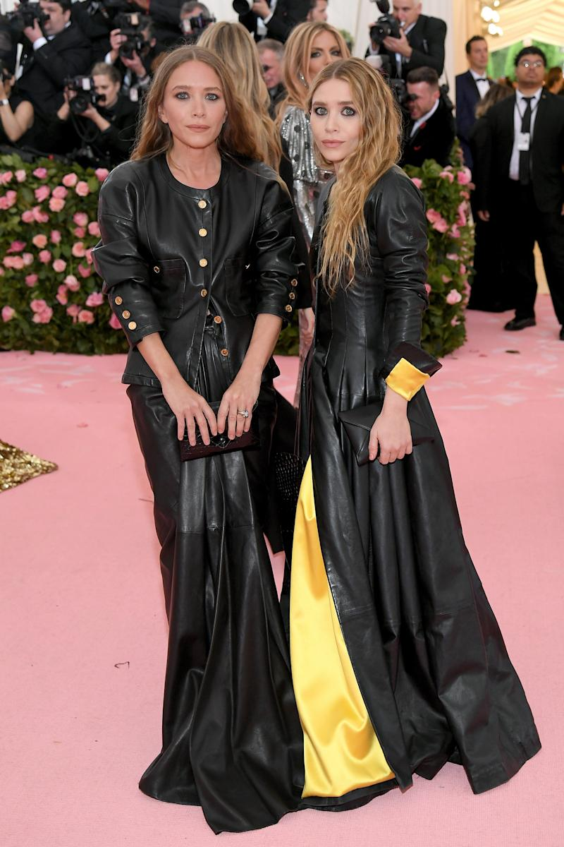 710d0c555e Met Gala 2019  Mary-Kate and Ashley Olsen Do Double Leather Dresses