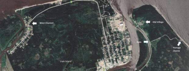 An areal photo of the area near Hay River, N.W.T., shows the isolated area known as 'The Portage.' right, where the victim was found and the West Channel area of Vale Island, where the cousins accused in the death live.