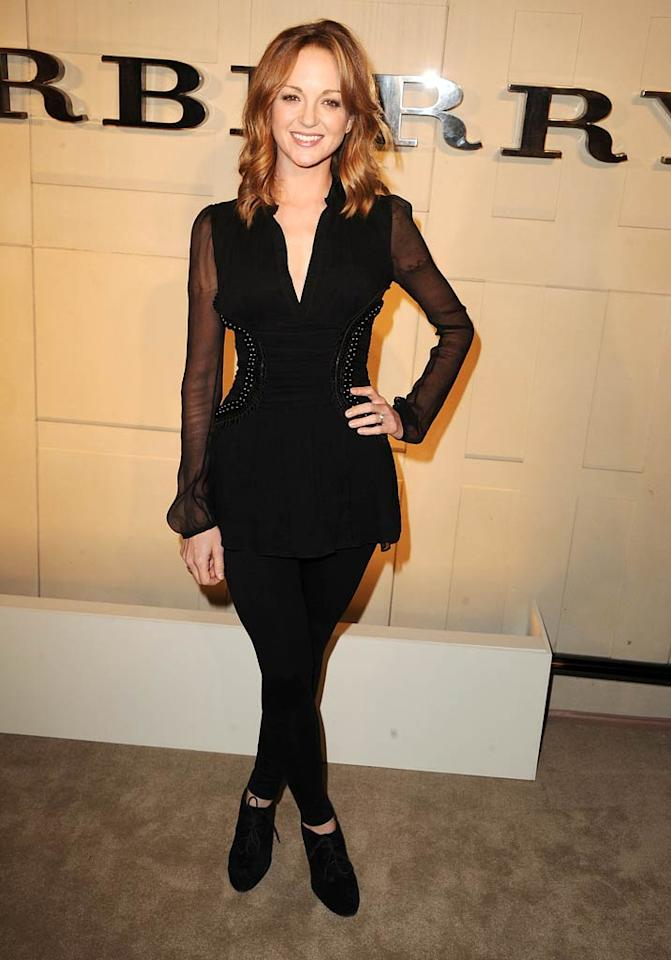"""""""Glee"""" star Jayma Mays donned a black top and leggings at the soiree, which took place at Beverly HIlls' Burberry boutique.   (10/26/2011)"""