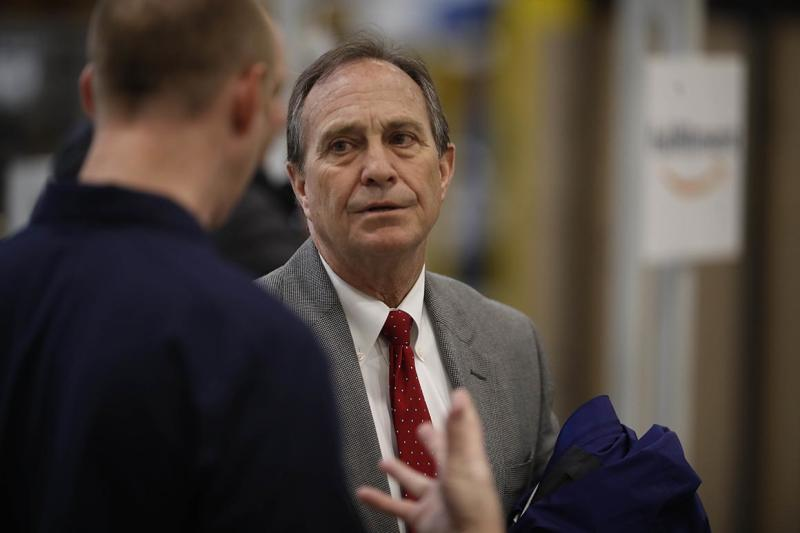 U.S. Rep. Ed Perlmutter, D-Colo., speaks during a tour of the Amazon fulfillment center Thursday, May 3, 2018, in Aurora, Colo. More than 1,000 full-time associates work in the Aurora facility, which opened in September 2017, and is one of more than 100 such fulfillment centers scattered across North America. (AP Photo/David Zalubowski)