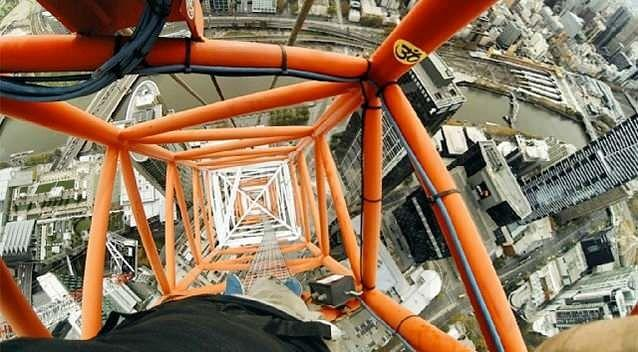 Daredevil Bryce Wilson filmed himself climb 304 metres up a crane on top of a skyscraper at Southbank. Photo: Bryce Wilson/Instagram