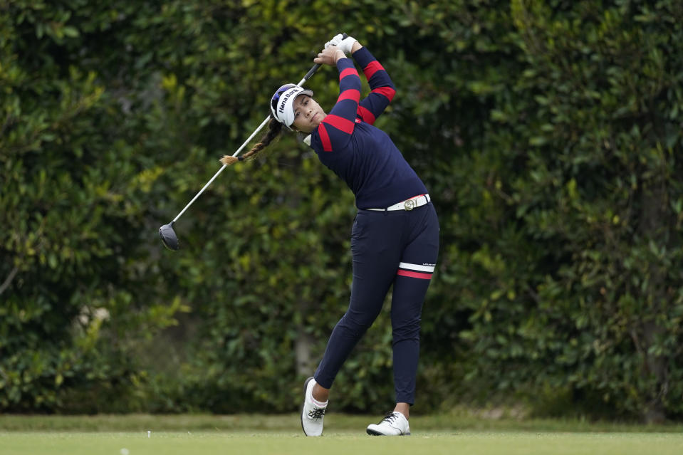 Patty Tavatankit tees off at the second hole during the first round of the LPGA's Hugel-Air Premia LA Open golf tournament at Wilshire Country Club Wednesday, April 21, 2021, in Los Angeles. (AP Photo/Ashley Landis)