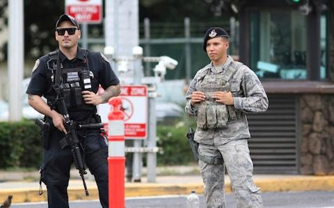 The base was on lockdown after the attack - Credit: CALEB JONES/AP