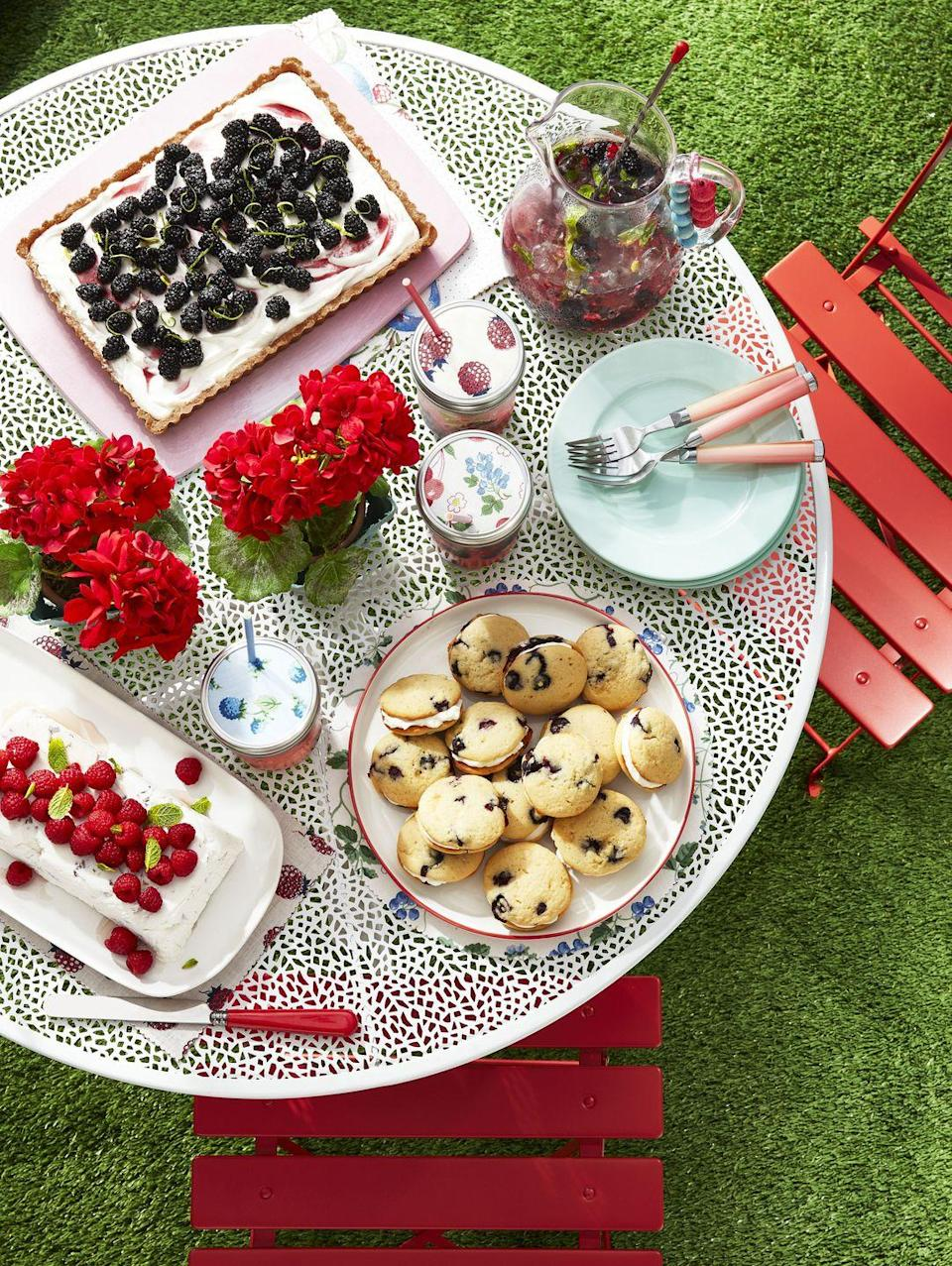 """<p>After visiting a berry picking farm, head home and turn the fruits of your labor into some fruity desserts. When the baking is done, head outside to enjoy the sweet treats—like blueberry whoopie pies— under blue skies. </p><p><strong><a href=""""https://www.countryliving.com/food-drinks/a32352585/blueberry-whoopie-pies/"""" rel=""""nofollow noopener"""" target=""""_blank"""" data-ylk=""""slk:Get the recipe"""" class=""""link rapid-noclick-resp"""">Get the recipe</a>.</strong></p>"""