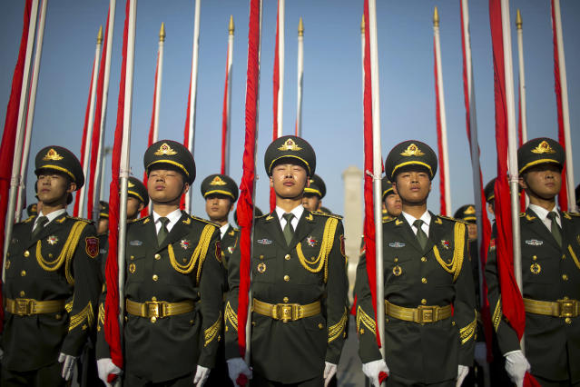 <p>Flagbearers of a Chinese honor guard stand in formation before a welcome ceremony for Argentina's President Mauricio Macri at the Great Hall of the People in Beijing, Wednesday, May 17, 2017. (Photo: Mark Schiefelbein/AP) </p>