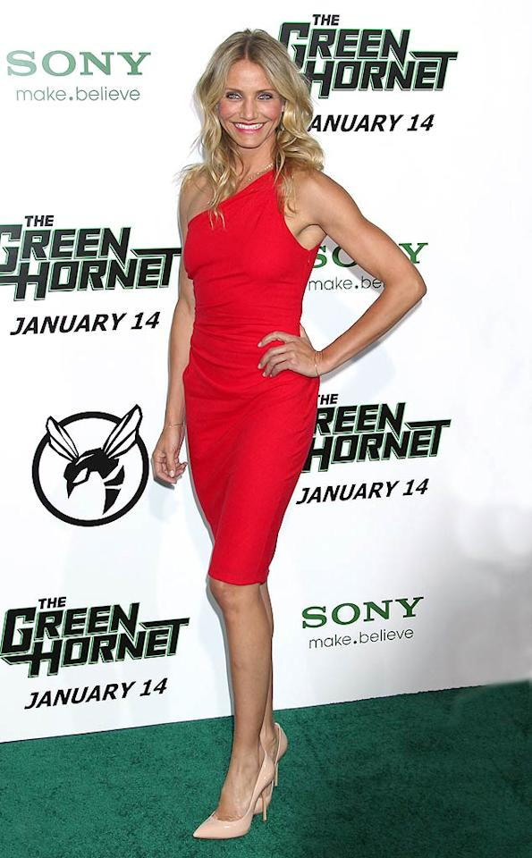 """Red-hot frocks are all the rage this season, and Cameron Diaz kept the trend on target in a $1,200 one-shoulder Azzaro sheath -- and nude Casadei pumps -- at the Los Angeles premiere of """"The Green Hornet."""" Russ Einhorn<a href=""""http://www.splashnewsonline.com"""" target=""""new"""">Splash News</a> - January 10, 2011"""