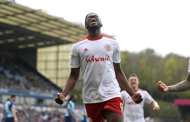 "Soccer Football - League Two - Wycombe Wanderers v Accrington Stanley - Adams Park, Wycombe, Britain - April 21, 2018 Accrington Stanley's Offrande Zanzala celebrates scoring their fourth goal Action Images/Tony O'Brien EDITORIAL USE ONLY. No use with unauthorized audio, video, data, fixture lists, club/league logos or ""live"" services. Online in-match use limited to 75 images, no video emulation. No use in betting, games or single club/league/player publications. Please contact your account representative for further details."