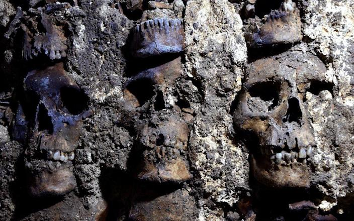 Part of an Aztec tower of human skulls, believed to form part of the Huey Tzompantli - Reuters