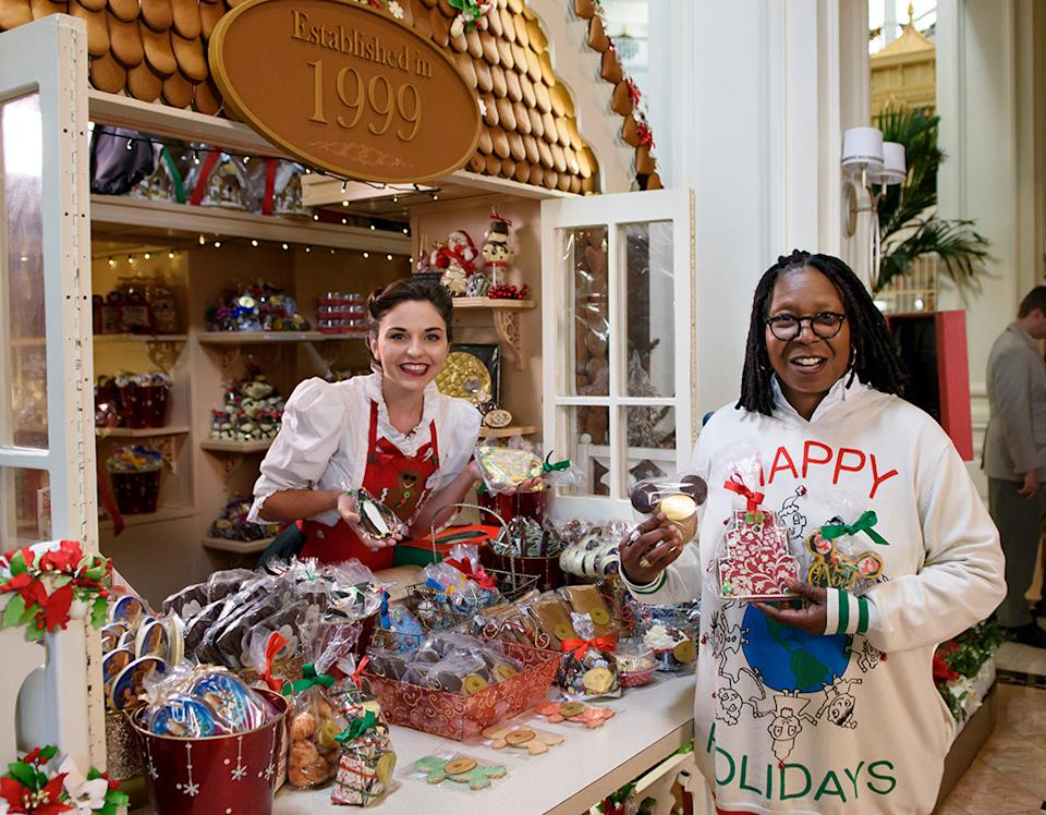Whoopi reveals all the bells and whistles (and pyrotechnics and baubles and beauty) in 'Decorating Disney: Holiday Magic.' (Photo: Disney)