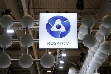 The logo of Rosatom Corp. is pictured at the World Nuclear Exhibition (WNE), the trade fair event for the global nuclear community in Villepinte