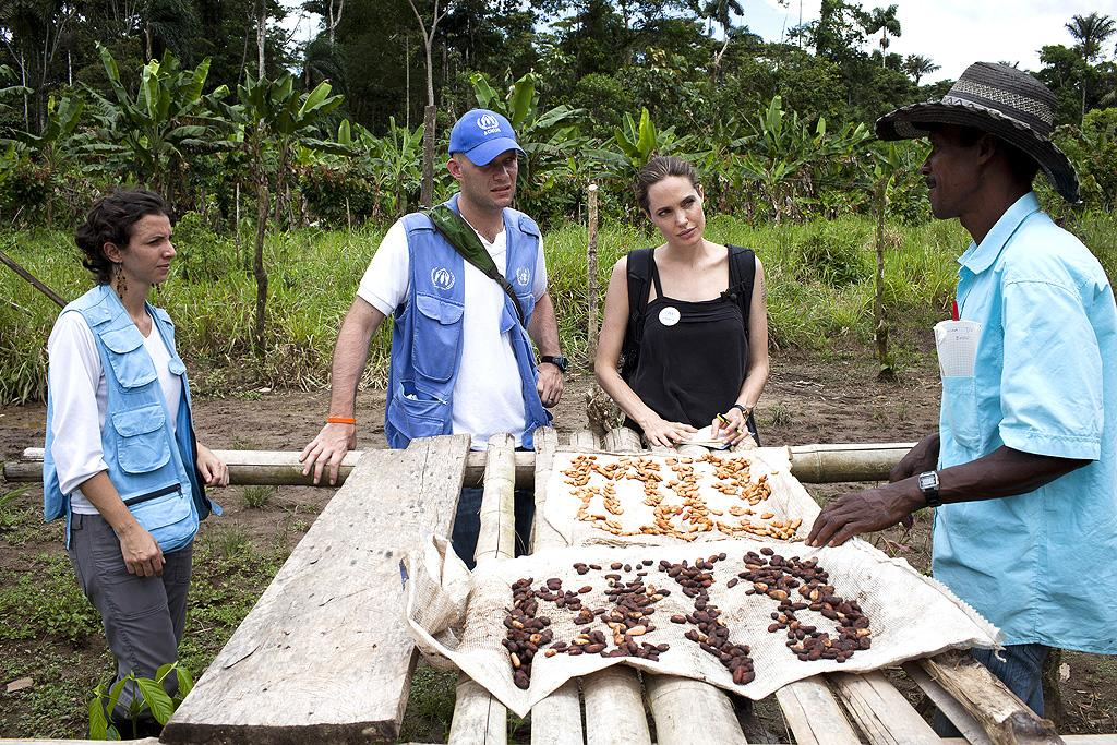 Angelina Jolie took time out from her family vacation in the GaIapagos Islands to travel to Ecuador over the weekend as part of her role as UN Goodwill Ambassador. The newly engaged actress visited with refugees living in the village of Barrancabermeja. (4/22/2012)