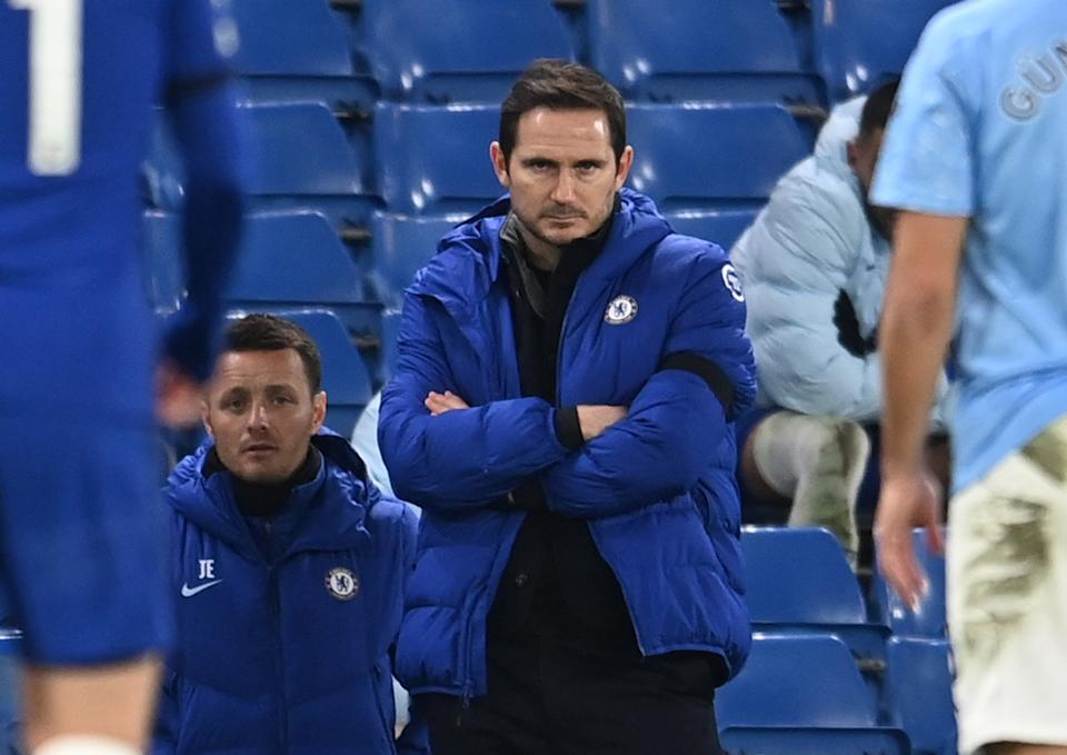 Chelsea manager Frank Lampard watches as his side lose 1-3 to Manchester City.