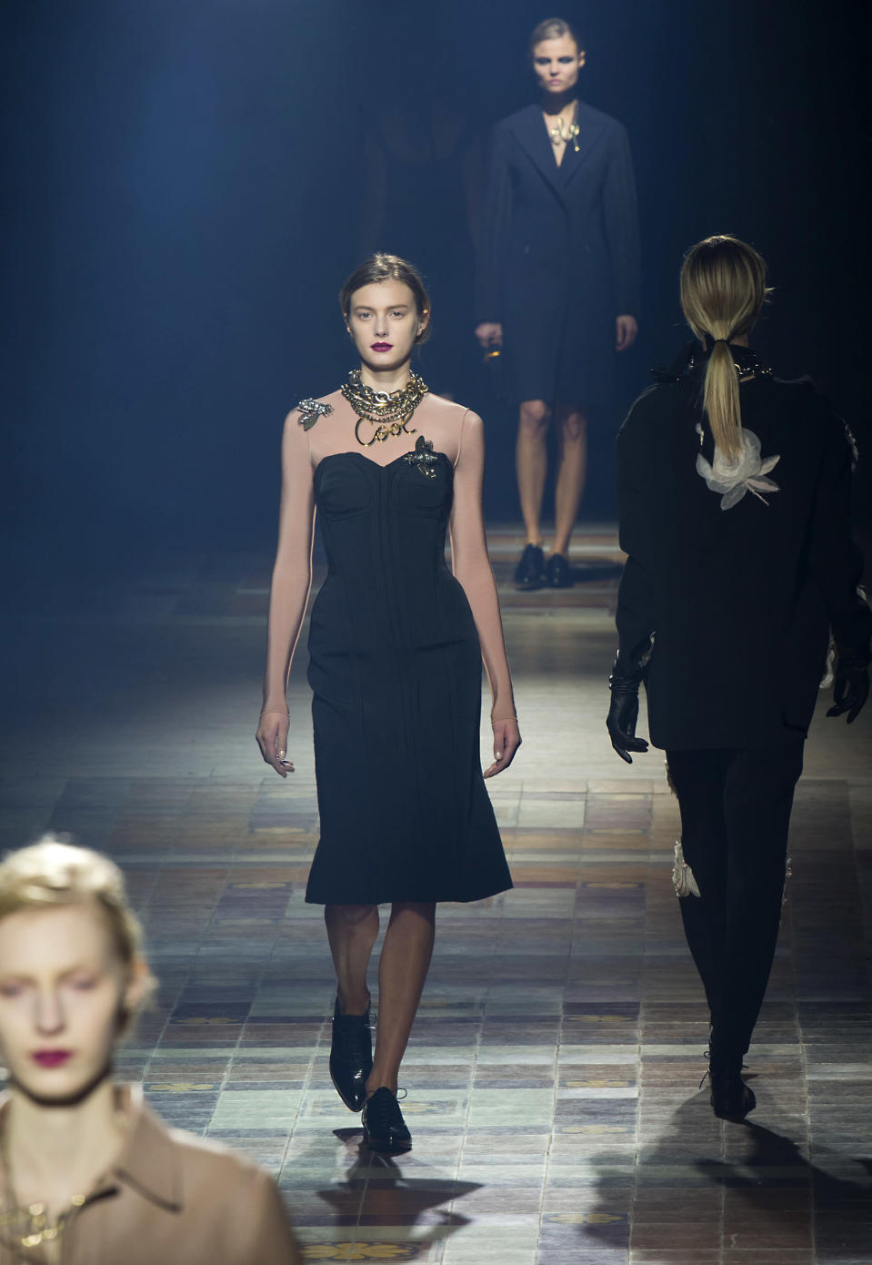 A model wears a creation by designer Alber Elbaz for Lanvin's Ready to Wear Fall-Winter 2013-2014 fashion collection, presented, Thursday, Feb.28, 2013 in Paris. (AP Photo/Jacques Brinon)