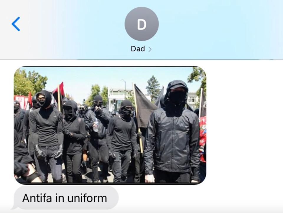 Sabrina's father texted this photo to her amid a stream of links to videos spreading conspiracy theories about antifa, shorthand for anti-fascists. (Photo: Courtesy of Sabrina)