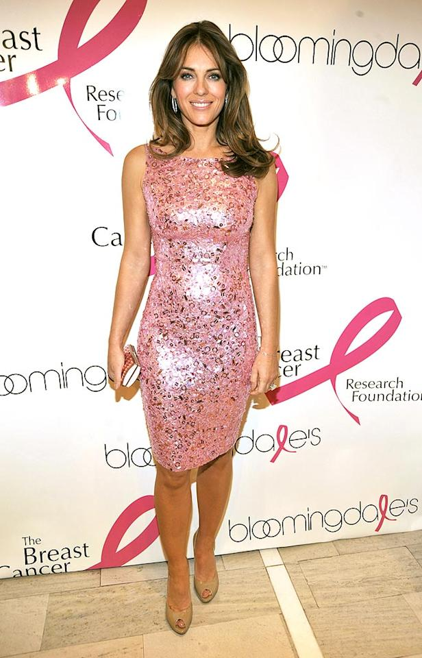"Also in the giving mood was Brit bombshell Elizabeth Hurley, who attended an Estee Lauder event to raise funds for the Breast Cancer Research Foundation while wearing a captivating Naeem Khan pink sequined dress. Kevin Mazur/<a href=""http://www.wireimage.com"" target=""new"">WireImage.com</a> - October 12, 2009"